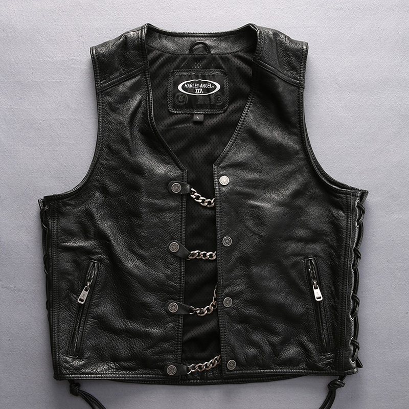 harley Mens motorcycle rider leather vest male thick genuine cowhide leather vest