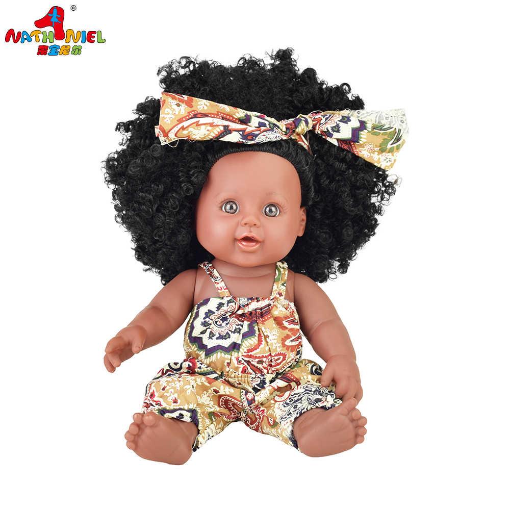 2019 schwarz puppe pop reborn boneca pop puppen für mädchen baby volle silikon Rapunzel baby puppe lebendig spielzeug mädchen kid poupee weihnachten
