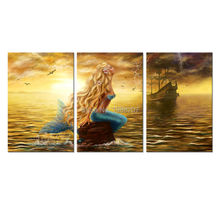 3 Panles Beautiful Princess Sea Mermaid Paintings Mermaid Pictures Prints On Canvas Ghost Ship at Sunset Wall Art For Home Decor