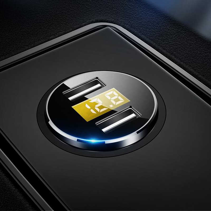 3.6a display led digital dupla usb adaptador de carregador de carro voltímetro para o telefone móvel iphone 2 porto carregador carregamento duplo
