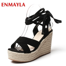 ENMAYLA  Kid Suede Gladiator Casual Womens Shoes Woman Sandals 2019 Summer Wedges for Women Size 34-39 LY1174