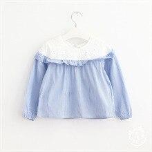 New Autumn Kids Girls Lace Striped Shirts Baby Girl Princess Cotton Blouse 2016 Babies Ruffles Jumper Tops Children's clothing