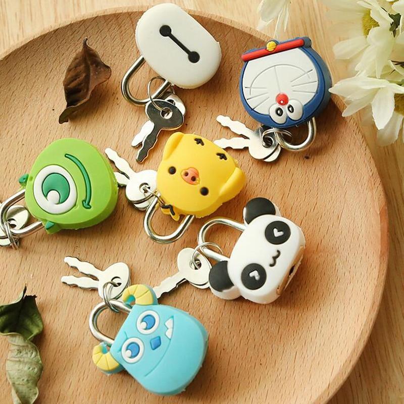 1X Cute Cartoon Kawaii Animals Luggage Bag Metal Lock Journal Diary Book Password Lock File Holder Stationery Accessories