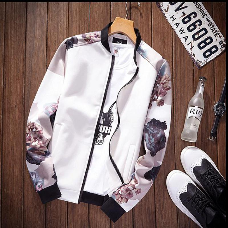 biker   jacket   Bomber   Jackets   Women 2019 Spring Causal Flowers Floral   Basic     Jackets   Windbreaker Ladies Coats Zipper Lightweight