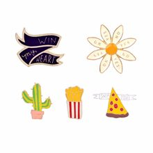 "French Fries Pizza Win my heart"" Flower Mexican Cactus Plant Pins Brooch Jewelry Badge Enamel Pin Button Bag Hat T-shirt Jackets(China)"