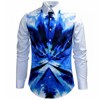 2015 New Arrival Blue Camouflage Printed Shirt Men Autumn Mens Fashion Slim Fit Long Sleeve White
