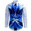 Homens Marca de luxo Camisa Chemise Homme 2015 Design de Moda Camuflagem Dos Homens Azuis Slim Fit Camisa À Moda do Vestido Camisas de Manga Longa