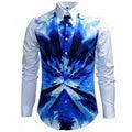 Luxury Brand Men Shirt Chemise Homme 2015 Fashion Design Camouflage Blue Mens Slim Fit Long Sleeve Dress Shirt Stylish Camisas