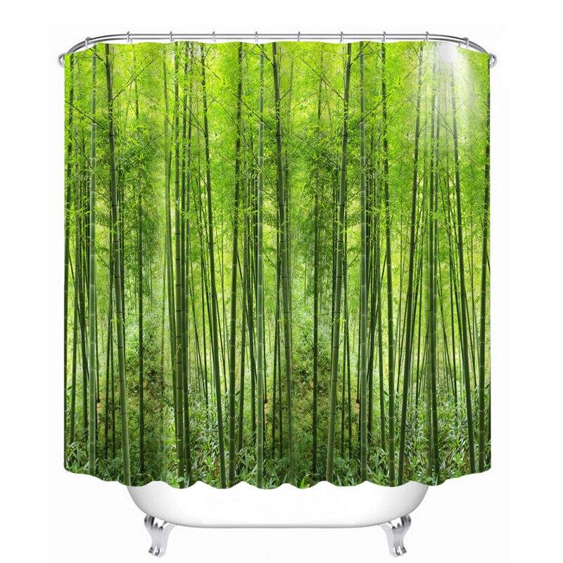 3d Green Bamboo Outdoor Shower Curtain For Bathroom Wedding Room Custom  Waterproof Washable Bath Curtains With  Outdoor Shower Curtain