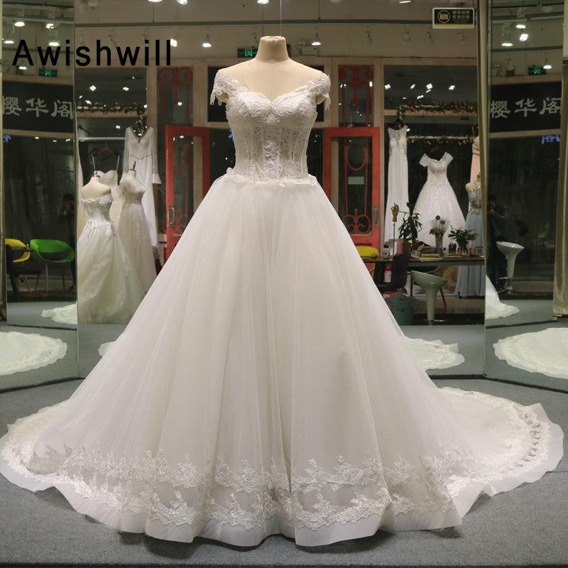 b1232421 Gorgeous Boned Bodice Wedding Dress With Lace Vestido De Novia Princesa  Chapel Train Cap Sleeve Real Image Bridal Gowns ~ Perfect Deal July 2019