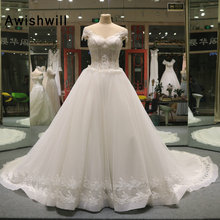 Awishwill Wedding Dress With Chapel Train Cap Sleeve