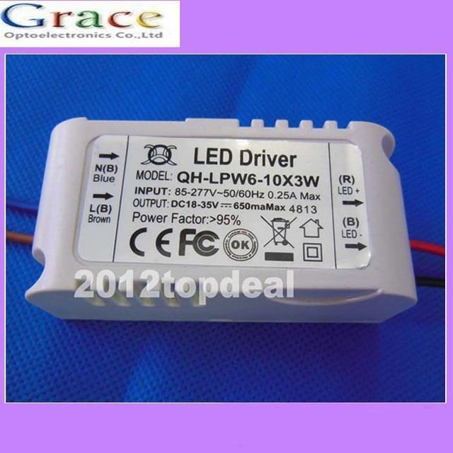 10 шт. драйвер постоянного тока для 6-шт. 10 шт. 3 Вт высокой светодио дный мощности LED серии, 6-10x3w 650mA внешний трансформатор