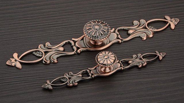 Big Size Antique Copper Classical Cabinet Drawer Pull Handle And Knob(  L:222MM H - Big Size Antique Copper Classical Cabinet Drawer Pull Handle And