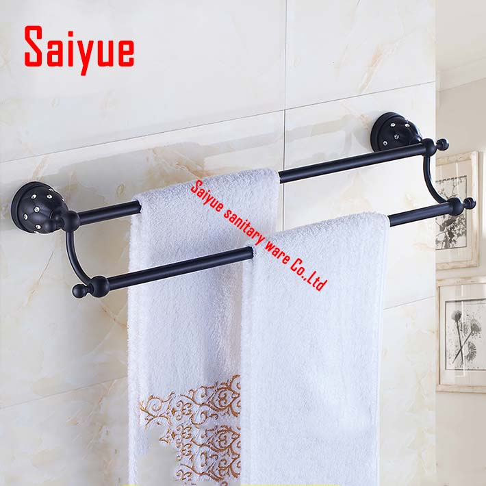 (23inch,60cm) Double Towel Bar oil rubbed bronze/Towel Holder,towel rack,Bathroom accessories set  wall mounted crystal oil rubbed bronze brass bathroom towel rack holder crystal hanger ceramic holder