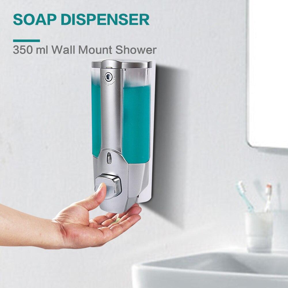 350 ml de plástico de montaje en pared de dispensador de jabón de la bomba de la loción del Gel de ducha de champú dispensador desinfectante de manos Cierre de diseño para baño cocina