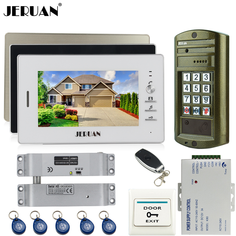 JERUAN Home 7`` TFT Color Video Door Phone Intercom system kit + NEW Metal waterproof Access password keypad HD Mini Camera 1V3 jeruan home 7 inch video door phone intercom system kit new metal waterproof access password keypad hd mini camera 2 monitor
