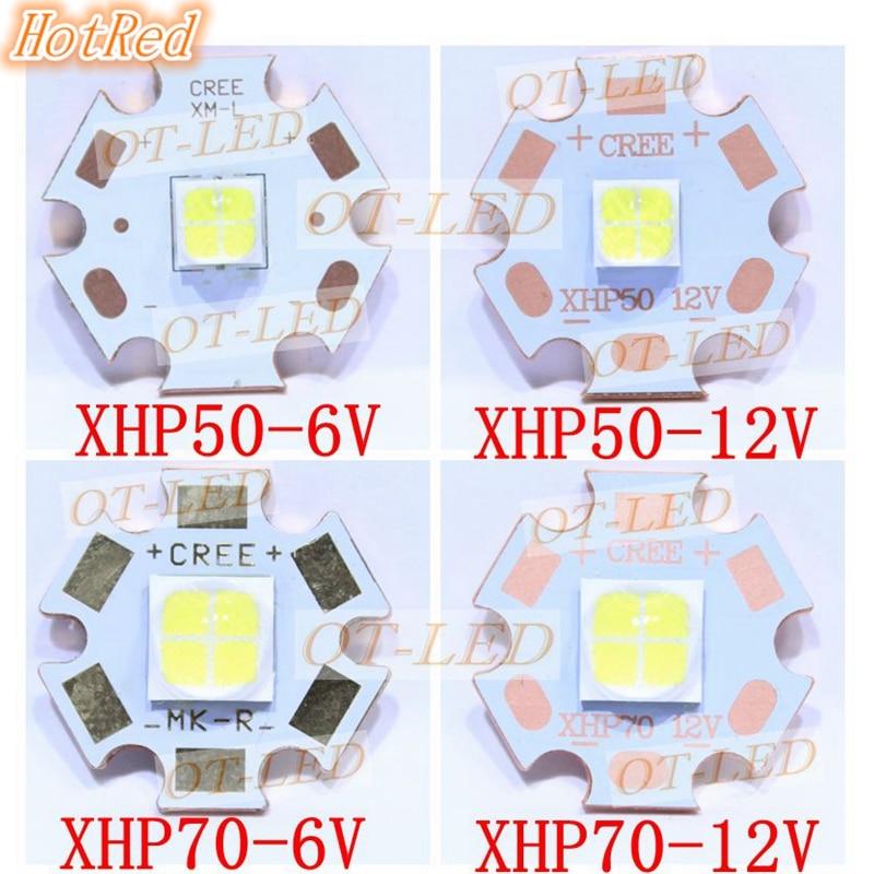 CREE XHP50 XHP70 6500K Cool White LED Emitter 6V 12V With 16mm 20mm Alumium Cooper PCB
