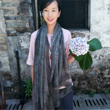 New 190*85cm Retro Solid Linen Silk Scarves Stitching Solid Color Tie-dyed Old Literary Travel Resort Scarf Women Sour Lemon