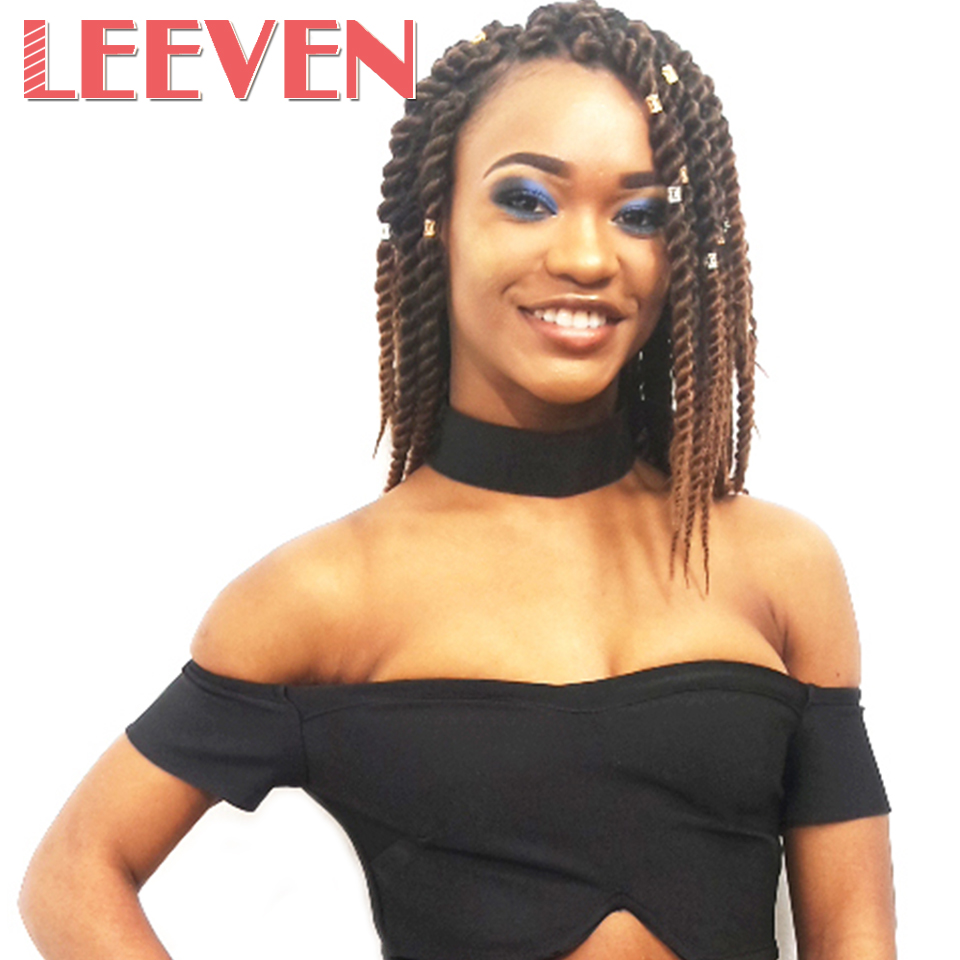 Leeven Havana Twist Crochet Braid Hair Black Synthetic Braiding Hair Extension High Temperature Fiber 12inch 12strands 5pcs/lot