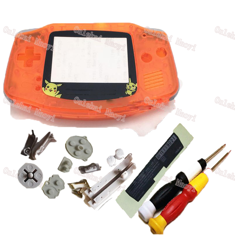 ZUCZUG Brand Clear Orange Replacement Handheld Housing Game Console Shell Cover Case Repair Damage Old Console With Limited Lens