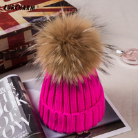 Thicken Knitted Hats For Children With 15CM Genuine Raccoon Fur Ball Tops Causal Kids Acrylic Cashmere