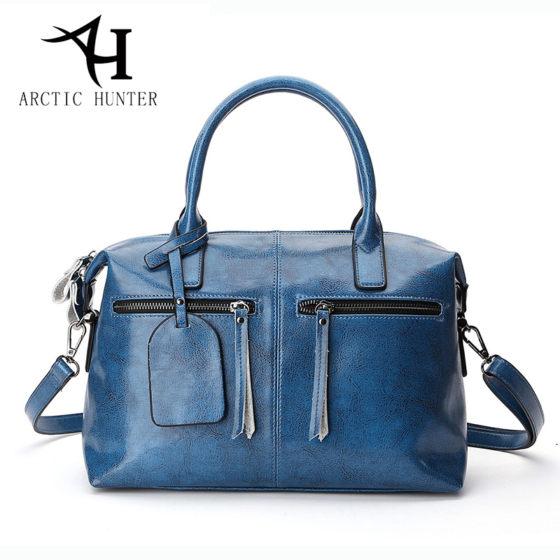 ARCTIC HUNTER Women bag ladies Genuine leather shoulder bags women handbags fashion Boston big tote women messenger bag female new genuine leather bags for women famous brand boston messenger bags handbags tassel tote hand bag woman shoulder big bag bolso