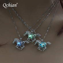 Smart Running Horse Neclace DIY Locket Cage Glowing in the Dark Animal Pendant Necklace for Women Gift Hot Sale