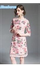 Women Summer Pink Lace Dresses 2018 England Style Half Sleeve Hollow Out Dress Fashion Elegant Femme Party Vestidos Ladies цена и фото