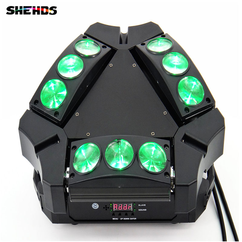 disco light 9x10w 4in1 adj kaos 3-heads mini led spider moving head light 9 moving head laser spider light green color 50mw 9 triangle spider moving head light laser dj light disco club event