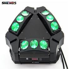 Disco licht 9×10 watt 4in1 adj kaos 3-heads mini led moving head spinne licht