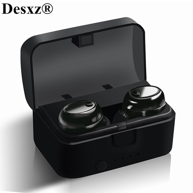 Desxz TWS Wireless True Earphones Bluetooth 5.0 Earbuds Bluetooth 4.2 + EDR Headset Stereo Music Microphone Charging Box TW1