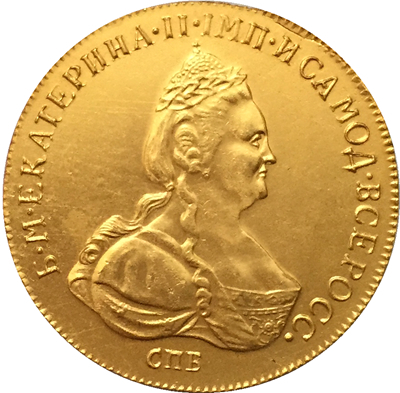 100% 24-K Gold plated 1786 russia 10 Roubles gold Coin copy