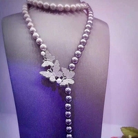 LiiJi Unique Black Shell Pearl 12mm Beads Butterfly Silver Plated Long Necklace