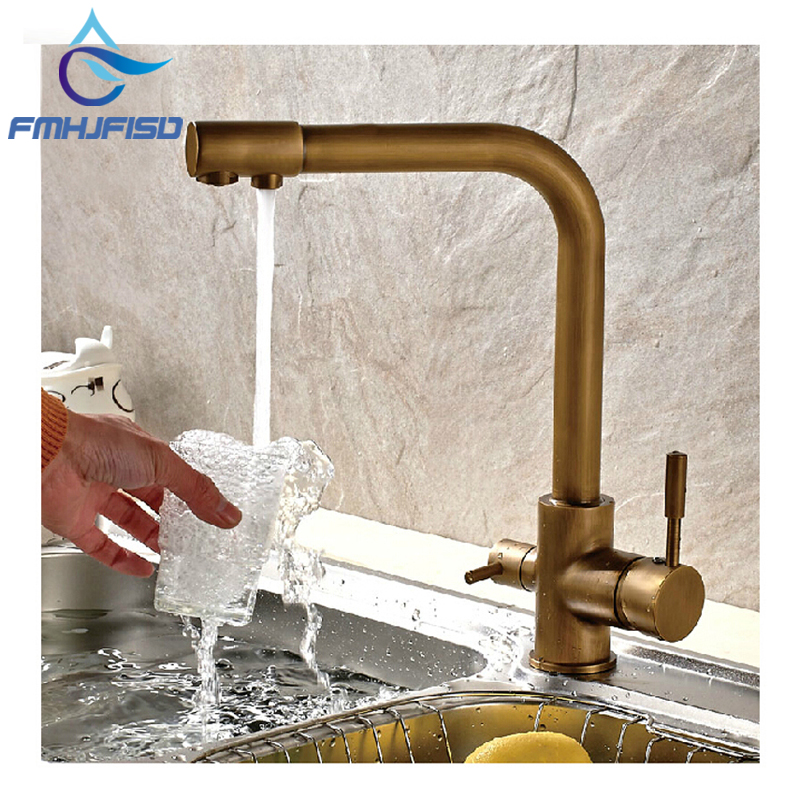 Luxury Antique Brass Kitchen Faucet Hot & Cold Vessel Mixer Tap Pure Water Spout Vanity Faucet golden brass kitchen faucet dual handles vessel sink mixer tap swivel spout w pure water tap
