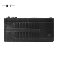 HT Long Design Card Holder Genuine Cow Leather ID Cards Cases Men Wallet Money Pockets Male Wallets Large Capacity Card Case