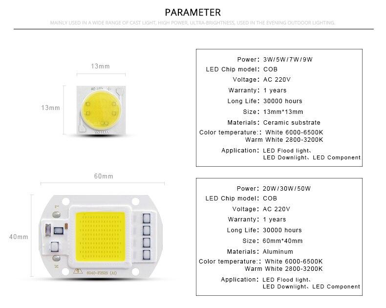 Design; Aimengte Smart Ic Driver Cob Led Bulb 3w 5w 7w 9w 20w 30w 50w Led Spotlight Floodlight Chip For Diy Outdoor Floodlight Lampada Novel In