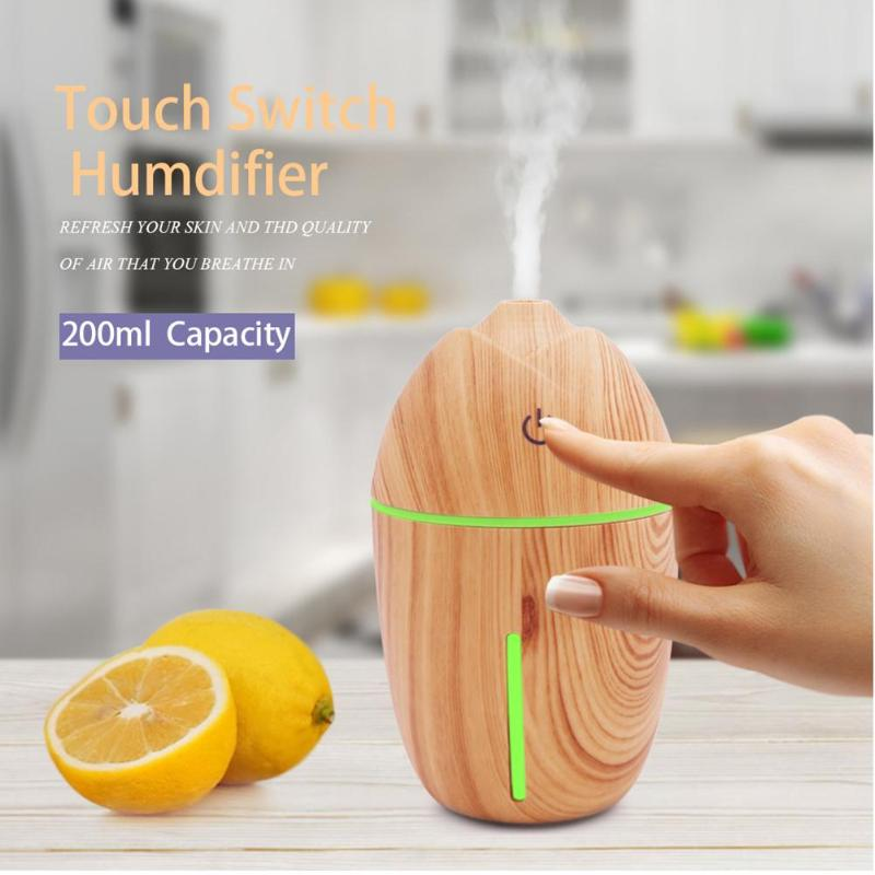 200ml Ultrasonic Humidifier Aroma Diffuser Wood Grain Aromatherapy Diffuser Mist Maker Fogger Air Humidifier LED Night Light 2017 new 200ml capacity egg shape ultrasonic humidifier with changing led night light diffuser aroma oil mist maker air freshner