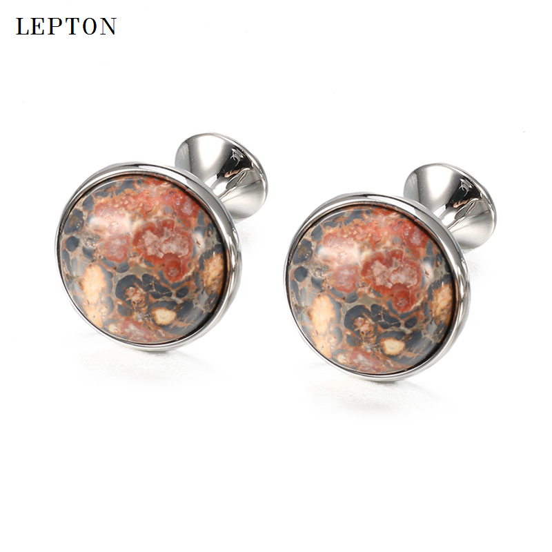 Low-key Luxury Leopard stone Cufflinks for Mens Gold Color Plated Lepton High Quality Round Stone Cuff links Relojes gemelos