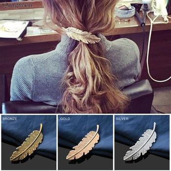 Qingwen 1 Uds adornos cabello a la moda forma de hoja Clips para el pelo de las mujeres Barrettes pluma pelo herramientas accesorios Estilosos CE0515/w
