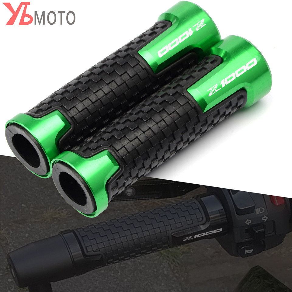 Fashion CNC&Rubber Motorcycle Handle Grips Non-slip Motorbike Handlebar Grips 5 Colors Fit For KAWASAKI Z1000 Z1000SX Z 10000