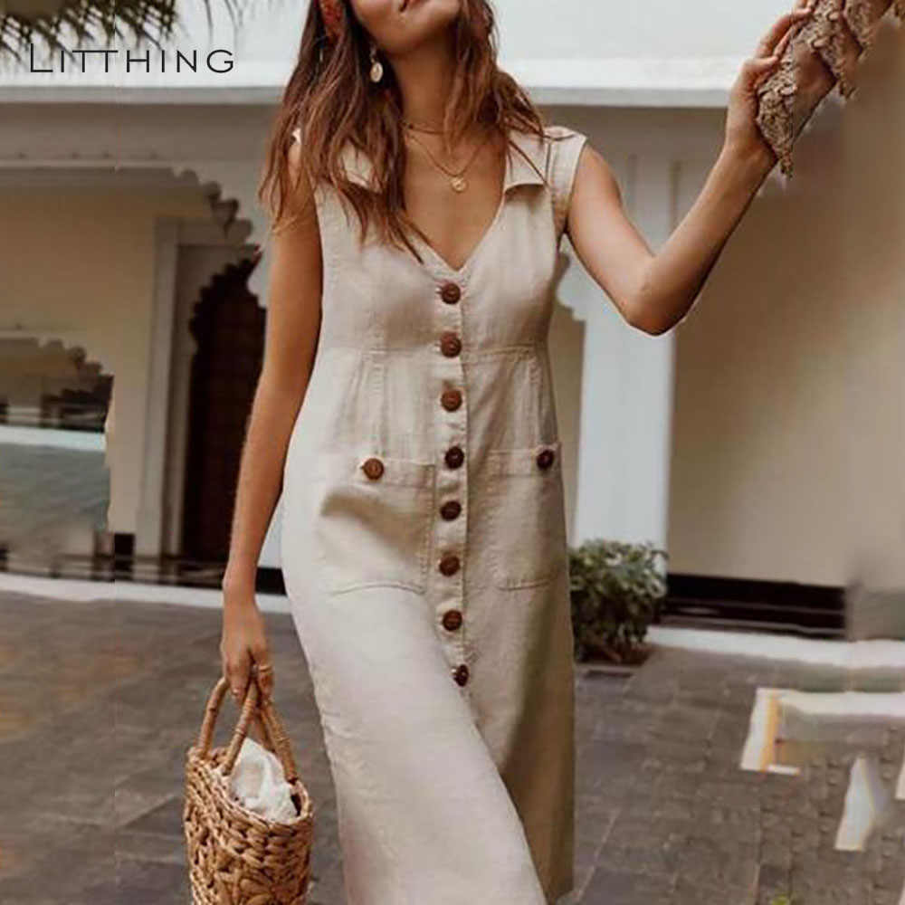 LITTHING 2019 Summer Women's Dresses Elegant Dot Print Boho Dress Feminine Turn-down V-neck Dress Button Pocket Dress Vestidos