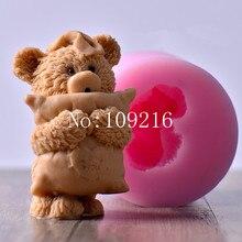 1 шт 7,5*9,8 см 3D Маленький Медведь подушка(LZ0136) силиконовые формы для мыла ручной работы поделки сделай сам
