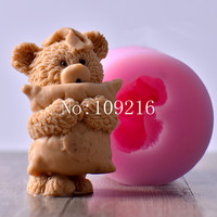 Wholesale 1pcs 7 5 9 8cm 3d little bear pillow lz0136 silicone handmade candle mold crafts.jpg 200x200