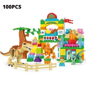 Image 5 - Umeile 15/39/65/100 Pcs Jurassic Dinosaurus Wereld Grote Bouwstenen Speelgoed Dier Set Baksteen Compatibel met Legoing Duplo Gift