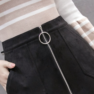 Image 5 - Black Elegant Office Lady Solid Color Front Zipper Mid High Waist Skirts Spring Winter Women Suede Leater Package Hip Skirt