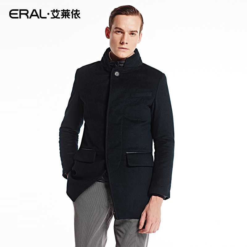 ERAL 2016 New Arrival Mens Winter Woolen Coat Long Slim Thick Down Jacket With Stand Collar ERAL9039C