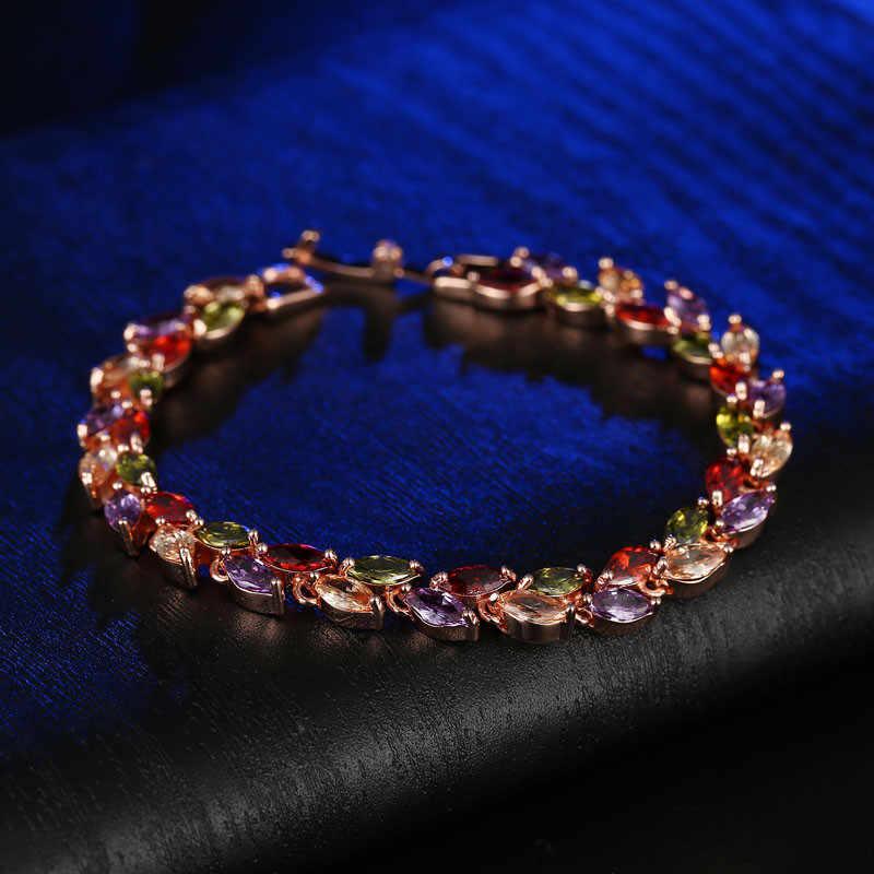 CARSINEL kolorowe Cubic bransoletka z cyrkoniami dla kobiet różowe złoto kolor wąż łańcuch biżuteria bransoletki luksusowe zaręczyny biżuteria BR0004