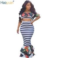 HAOYUAN Women Sexy Mermaid Maxi Dress Two Piece Set Black White Stripes Ruffle Bodycon Dress 2017