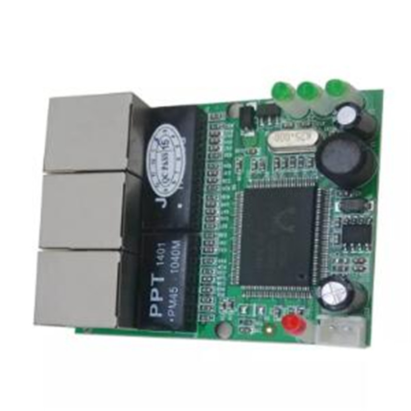 OEM Switch Mini 3 Port Ethernet Switch 10 / 100mbps Rj45 Network Switch Hub Pcb Module Board For System Integration