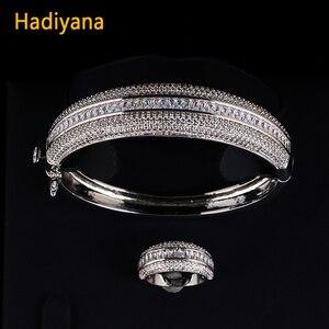 Image 3 - Женский сверкающий Большой браслет HADIYANA, сияющий кубический цирконий, комплект из 2 предметов, браслет и кольцо в подарок для специальной женщины, SZ028